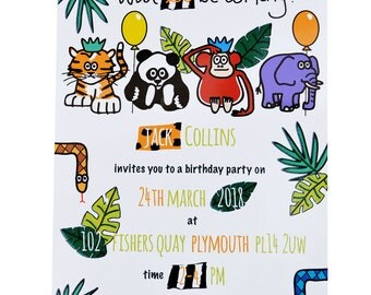 PERSONALISED 'Print your own' Zoo/Jungle Party Invites