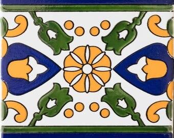 BLUE STRIPED BORDERS  6in X 6in Antique Ceramic Border Tiles