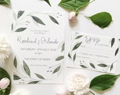 Watercolour Botanical Wedding Invitation Suite // custom stationery // hand painted // RSVP card // details card