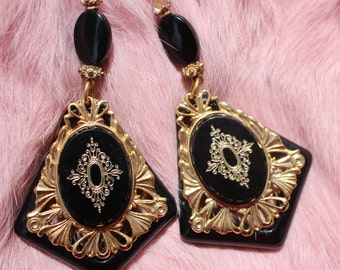 Glamorous black and gold ornate vintage dangle drop earrings