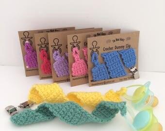 Crochet Dummy Clip - Handmade Pacifier Clip - Baby Shower Gift