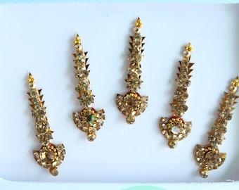5 Gold Antique Long Bindis,Bridal Long Bindis Sticker,Stone Bindi,Gold Bindis Face Jewels Bindis ,Antique Bindis,Body Art Glittery Bindi