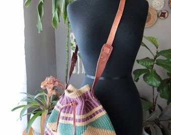 Vintage Boho Natural, Purple and Teal Sisal Cross Body Draw String Purse