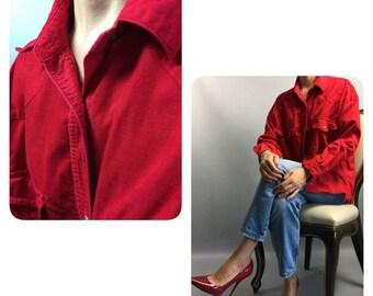 Red blouse 1990s Vintage blouse Velvet blouse Plus size blouse Buttons up blouse 90s blouse Womens shirt Red shirt Warm blouse Vintage top