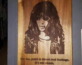 Joey Ramone with Quote Acacia Serving Board