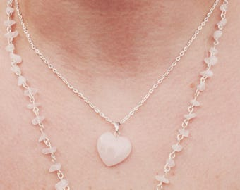 15% discount use code Chain layers rose quartz stone stone heart Pink Silver