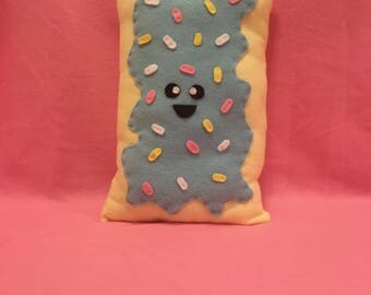 Super Plush Poptart Food Pillow with Light Blue Frosting and Sprinkles
