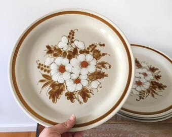 4 Vintage Mountain Wood Collection - Dried Flowers Plates - boho bohemian eclectic style decor home - Japan retro 1970s dinner plates #0404