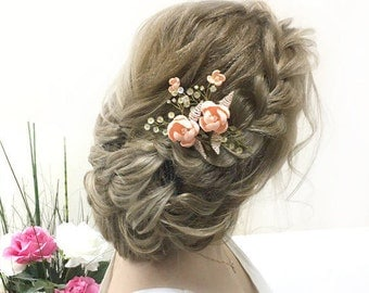 The pearl hair pins, wedding hair pins, barrettes for brides, gold pins, flower hair pins flower Bobby pins hair clips Wedding sets