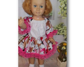 "Soda Fountain Fun.  Chatty Cathy sized Clothes. Top & Skirt for dolls the size of 20"" tall vintage Chatty Cathy dolls."