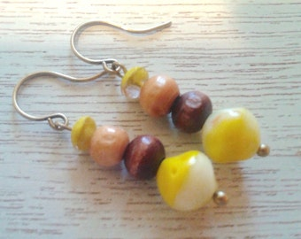 Yellow and Wooden Beaded Earrings/Handmade/Everyday Wear/Gift It