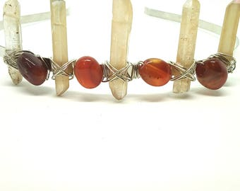 Peach Quartz Crown, Carnelian Crown, Crystal Crown, Raw Crystal Tiara, Quartz Tiara.