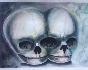 Siamese twins skull watercolor