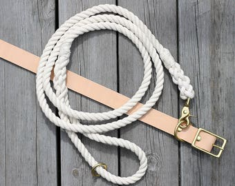Natural Cotton Dog Rope Leash Nautical