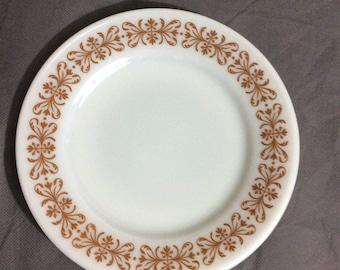 "Vintage Pyrex Tableware by Corning Salad / Dessert Plate Copper Filigree 7 1/4"" diameter"