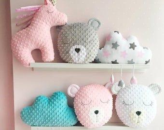 Bear cushion, unicorn cushion, star cushion, softie, toy nursery decor, gift for girl, kids room cushion