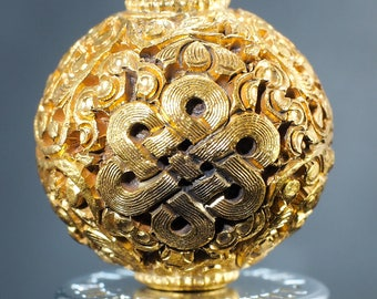 Handcrafted Vintage IVY Entwined Eternal Knot Endless Knot Gold Plated Bead