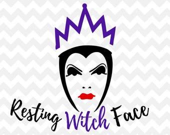 resting witch face SVG, disney SVG, halloween, halloween svg, disney villain, svg, cut file, silhouette, cricut, eps, ai