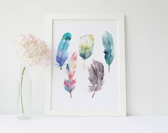 Watercolor Feathers Wall Art Print, Modern Home Decor, Bird Feather Poster, Watercolor Painting Art Set, watercolor feather, feather print