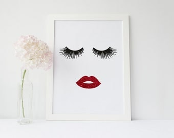 Lips & Lashes Makeup Print INSTANT Download Digital Printable Watercolor Wall Decor Art, eyelashes, eyelash, lash fashion print, red lips