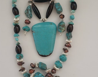 Turquoise Pendant / Turquoise Necklace / Turquoise Choker / Cowgirl Jewelry / Western Jewelry / Cowboy Jewelry / Native Inspired / Magnet