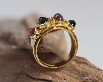 Tourmaline Ring, Vintage, 18k Gold, Size US 8.4 / UK Q 1/2