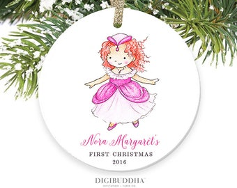 Princess Ornament Baby's First Christmas Ornament New Baby Girl Ornament Redhead Girl Christmas Ornament Personalized Baby Ornament Newborn