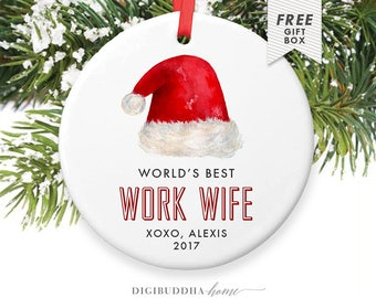 World's Best Work Wife, Personalized Coworker Christmas Ornament, Coworker Christmas Ornament, Work Wife Present, Best Work Wife Ever Gift