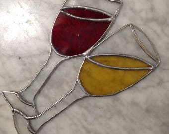 Red or White?  Stained Glass Wine Sun Catcher