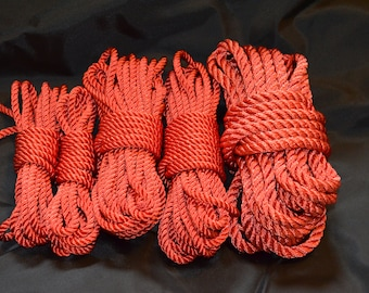 30' Hand Dyed  Red Nylon Rope