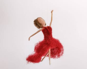 Ballerina in bordeaux, Dance, Doll, Needle Felted, Waldorf