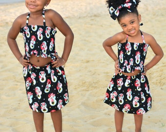 Minnie Mouse Two-piece outfit (Halter top, skirt, hair bow or headwrap)