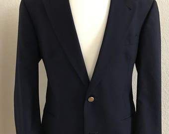 Vintage Burberrys' 40S Wool Navy with Gold Buttons Sport Coat