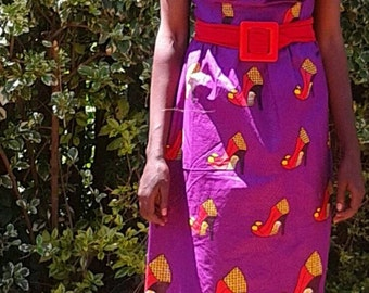 kitenge plunging neckline dress