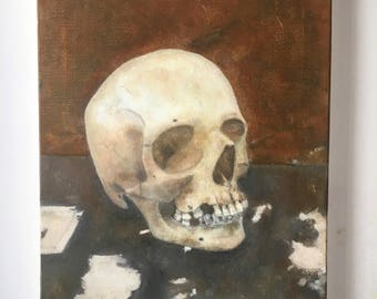 Skull Painting - D.Trimmer Traditional Gothic Still-life in Oils