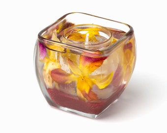 Gel Candle - Yellow & Red Orchids - Housewarming Gift - Valentine's Day Gift - La Reine NYC