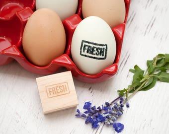 Egg Stamp - Chickens - Wooden Egg Stamp - Fresh Eggs Stamp - Farm Fresh Eggs - Chicken Coop - Homestead Stamp - Rubber Stamp - FRESH