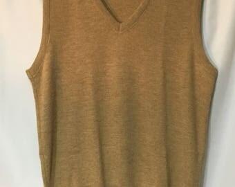 70's Men's XL Tan Jantzen Sweater Vest