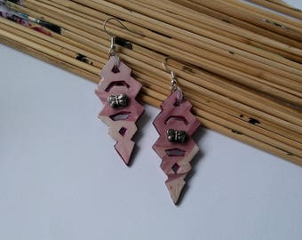 FREE SHIPPING. Pink earrings with butterfly