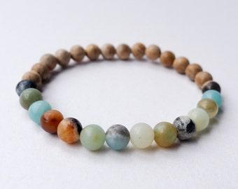 Mala Bracelet | Amazonite and Sandalwood | Gemstone Mala Beads | Surf and Ocean Beach Jewellery