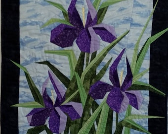 Custom Quilted Iris WallHanging