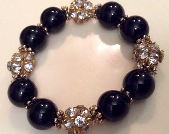 Black Onyx stretchy beaded bracelet