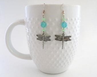 Silver Dragonfly Earrings - Beaded Earrings - Turquoise Earrings - Dragonfly - Glass - Unique Earrings - Gift for Her