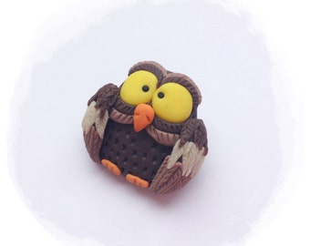 Brooch handmade from polymer clay Owl Gift