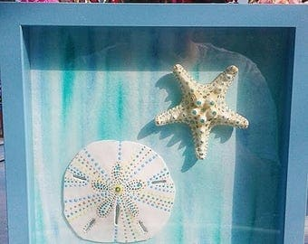 Blue Hand Painted Sand Dollar and Starfish