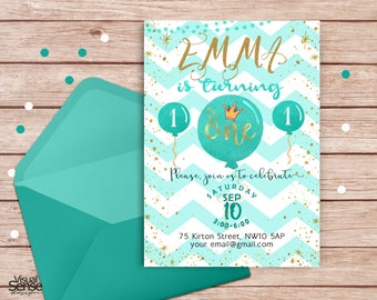 Birthday Invitation, Balloons Girl Invitation, Baby Girl,  Printable Invitation, Birthday, First Birthday,  For Any Age, BI001