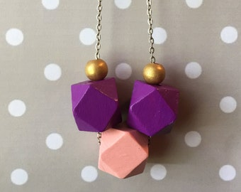 Statement Necklace // Violet and Peach Geometric Trio