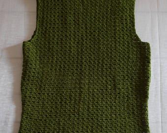 Green hand crocheted cotton sleeveless top