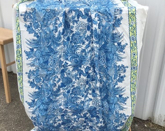 Rayon vintage fabric curtain panel Blue floral print silky twill curtain dress pillows