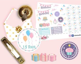 Happy Birthday Planner Stickers, Birthday Countdown Stickers, Pastel Planner Sticker, Advent Sticker, Scrapbook Sticker, Planner Accessories
